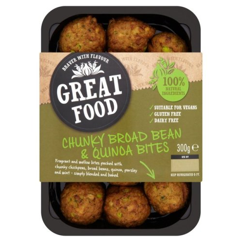 Great Food Chunky Broad Bean & Quinoa Bites 300g
