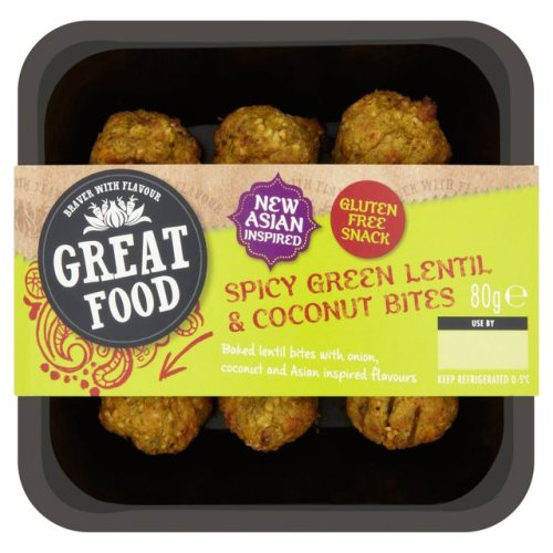 Spicy Green Lentil & Coconut Bites Snack 80g