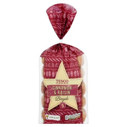 Tesco 5 Cinnamon And Raisin Bagels