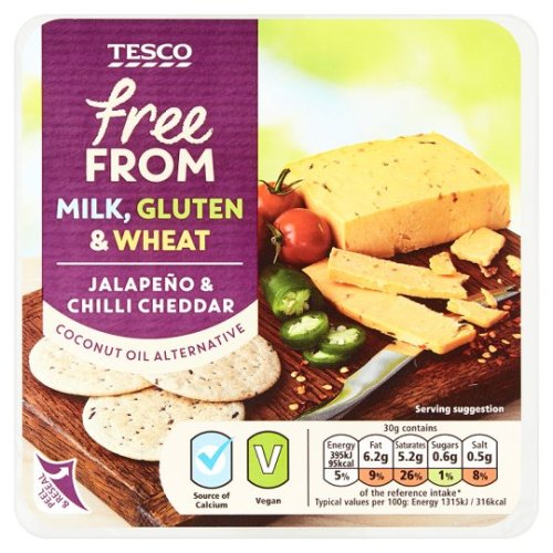 Tesco Free From Jalapeno And Chilli Cheese Alternative 200G