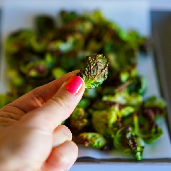 Brussel Sprout Chips Baked with Olive Oil