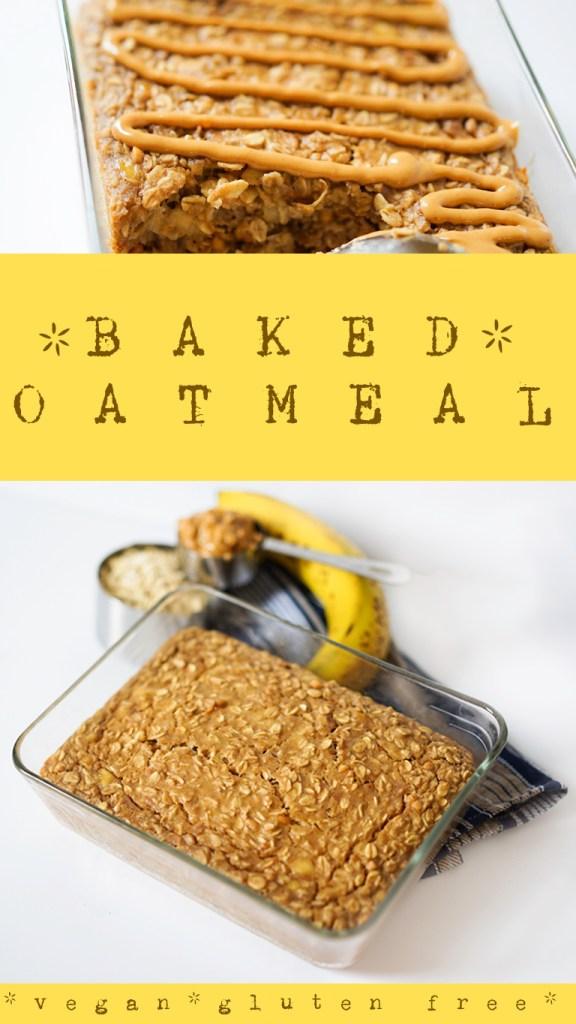 Baked Peanut Butter Oatmeal Recipe #vegan #glutenfree #myvegetarianfamily