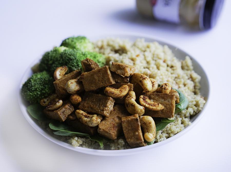 Cashew Butter Tofu Quinoa Broccoli #myvegetarianfamily