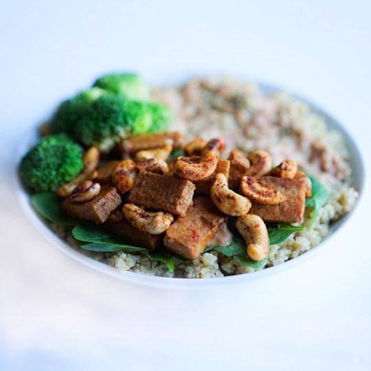 Baked Cashew Tofu with Quinoa