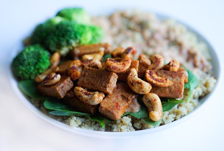 Baked Cashew Tofu with Quinoa