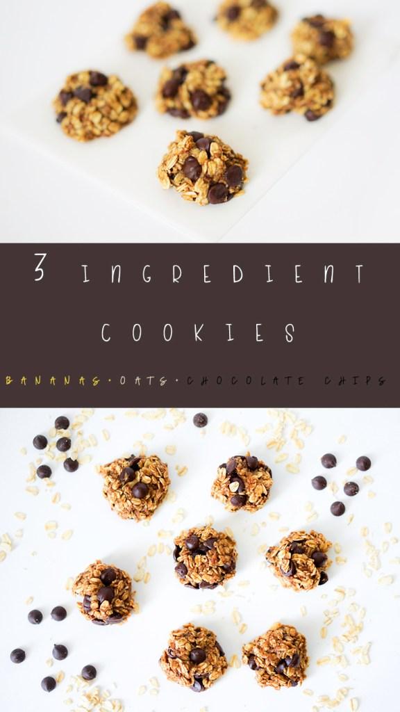 Three Ingredient Cookies Bananas Oats Chocolate Chips #myvegetarianfamily