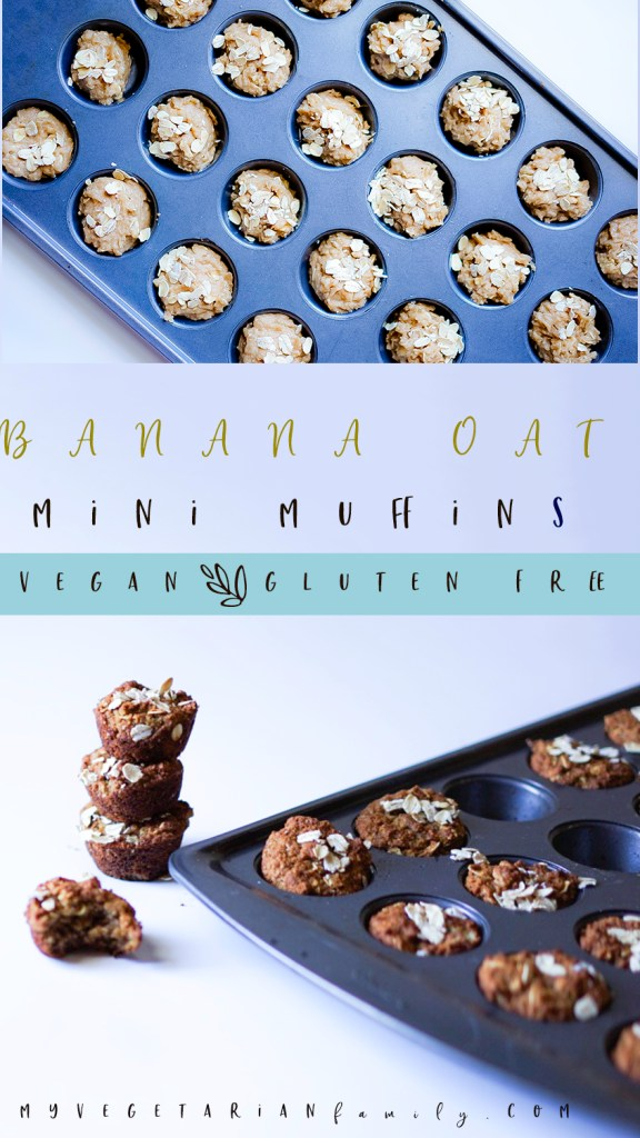 Banana Oat Mini Muffins Vegan Gluten Free #myvegetarianfamily