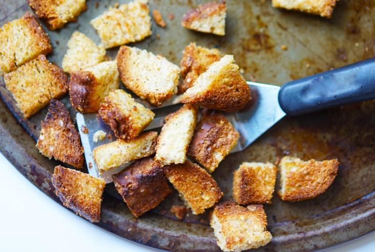 Easy Homemade Gluten Free Vegan Croutons #myvegetarianfamily