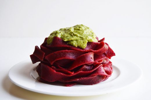 Beetroot Pasta with Avocado Pesto