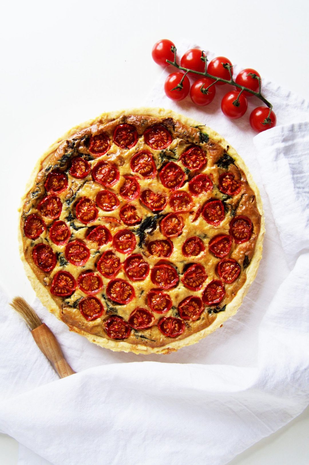 Vegan Cherry Tomato & Baby Spinach Quiche