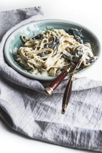 Vegan Rosmary Mushroom Tagliatelle with Cauliflower Cream