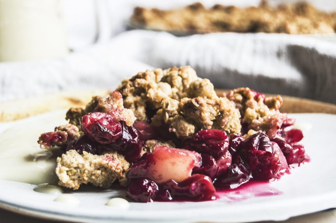 Vegan Pear Cranberry Crumble With Homemade Custard