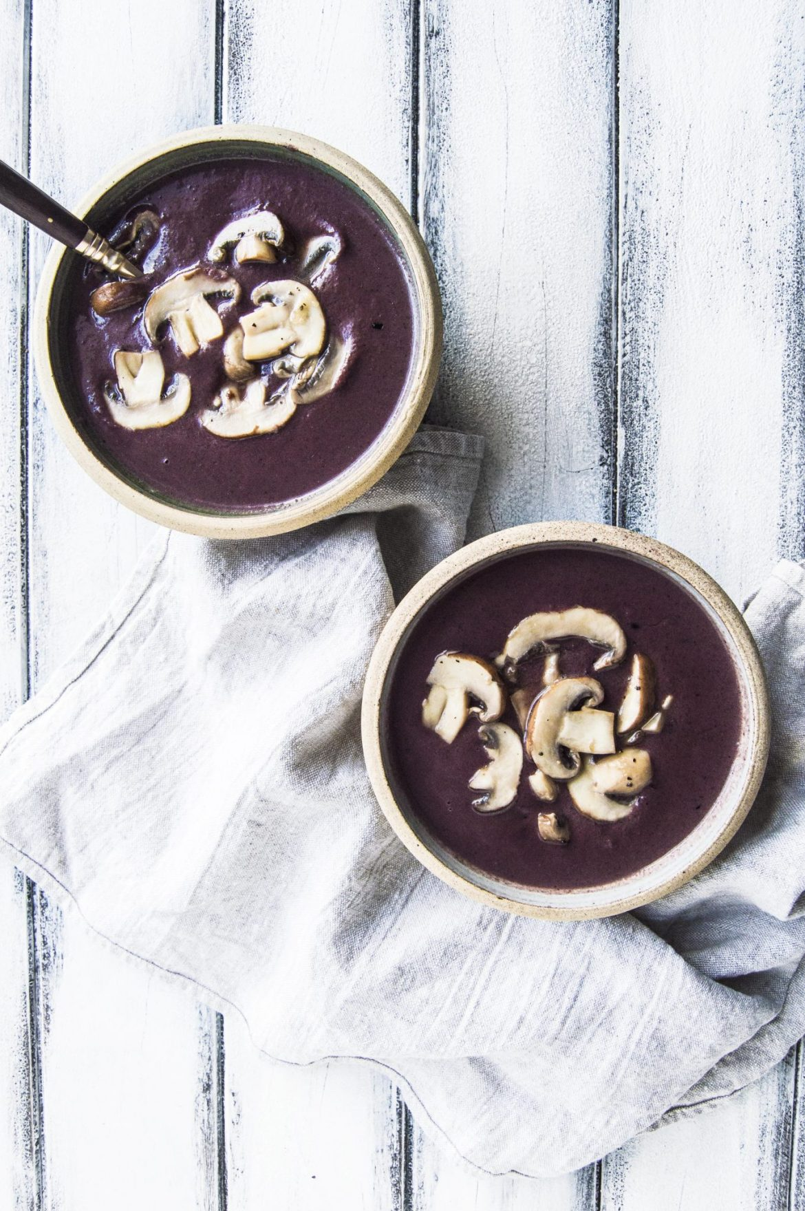Vegan Purple Cream Of Mushroom Soup With Wild Black Rice