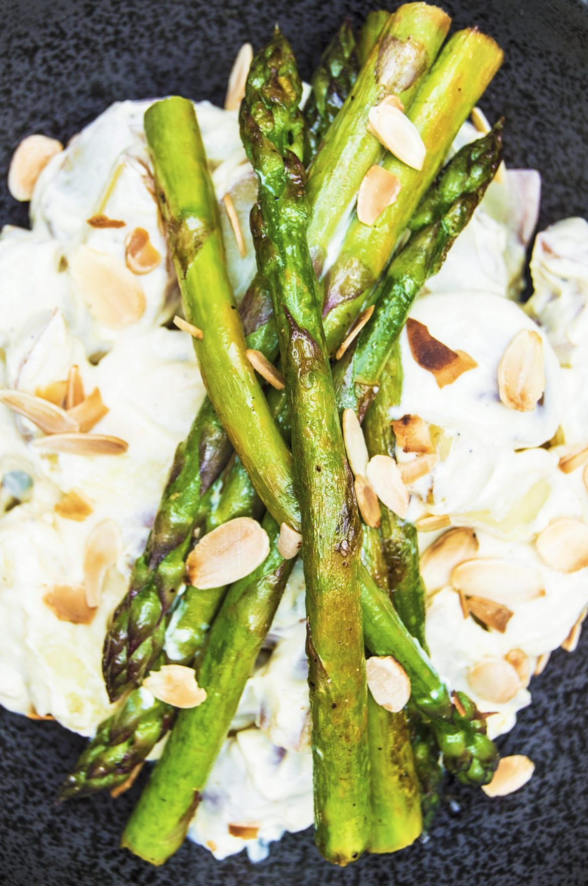 Vegan Creamy Potato Salad With Sautéed Lemon Asparagus