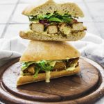 Fried Tofu Chicken Strips Sandwich With Sweet Mustard Sauce