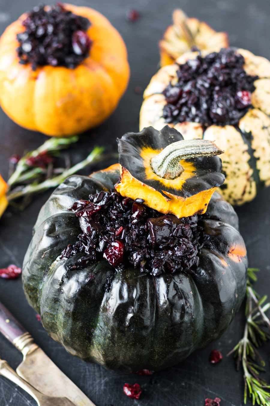 Vegan Festive Black Risotto Stuffed Pumpkins (With Red Wine, Mushrooms, Rosemary & Cranberries)