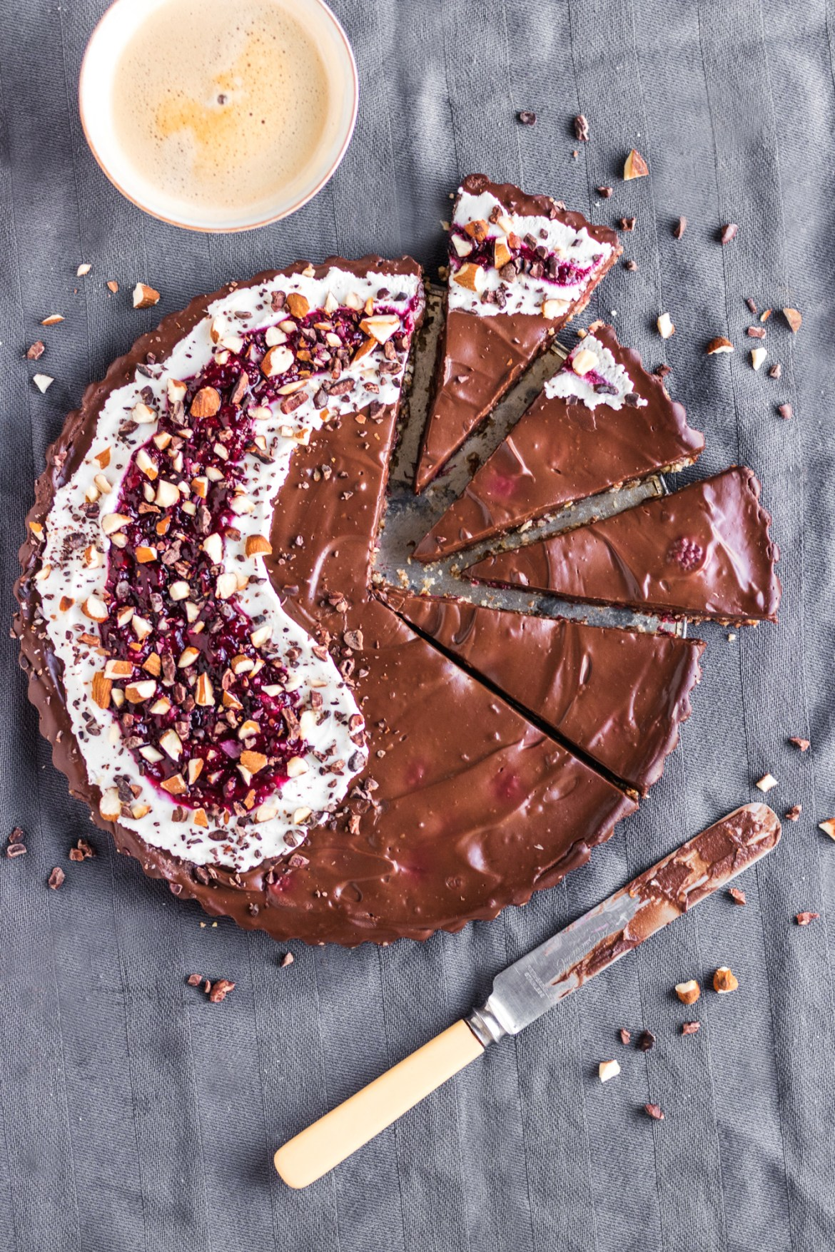 Vegan Chocolate Raspberry Tart