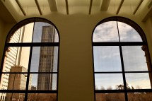 Large windows on the Michigan Ave. side of the building look out onto Millenium Park.