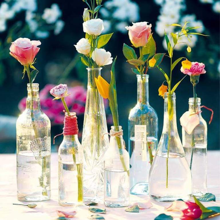 Flowers in the glass bottle