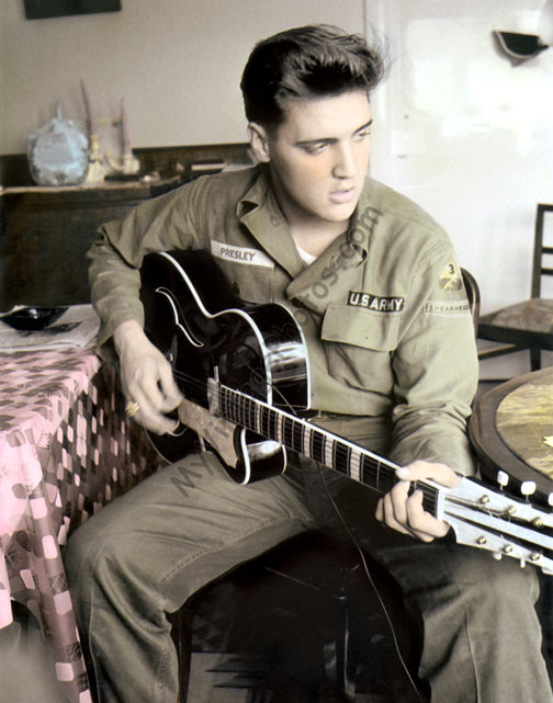 ELVIS PRESLEY in the Army 1958 4x4 Photo GRIEVING OVER DEATH OF GLADYS