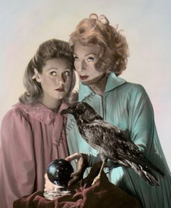 Hand color tinted photo of Elizabeth Montgomery & Agnes Moorehead from the 1960s television series, Bewitched