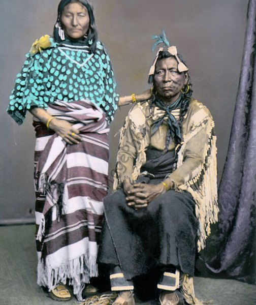 Iron Bull & wife, Crow Native American Indians, 1873