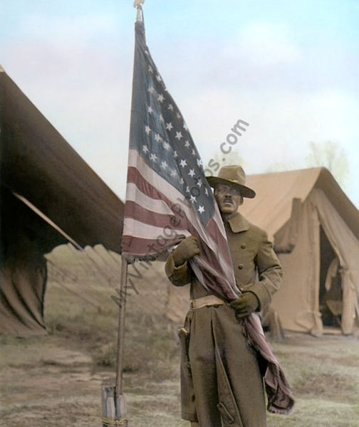 African American soldier embracing the Stars & Stripes, January 1, 1917 WWI