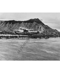 Sikorsky S-42 Baby Clipper Sea Plane over Waikiki & Diamond Head, 1935