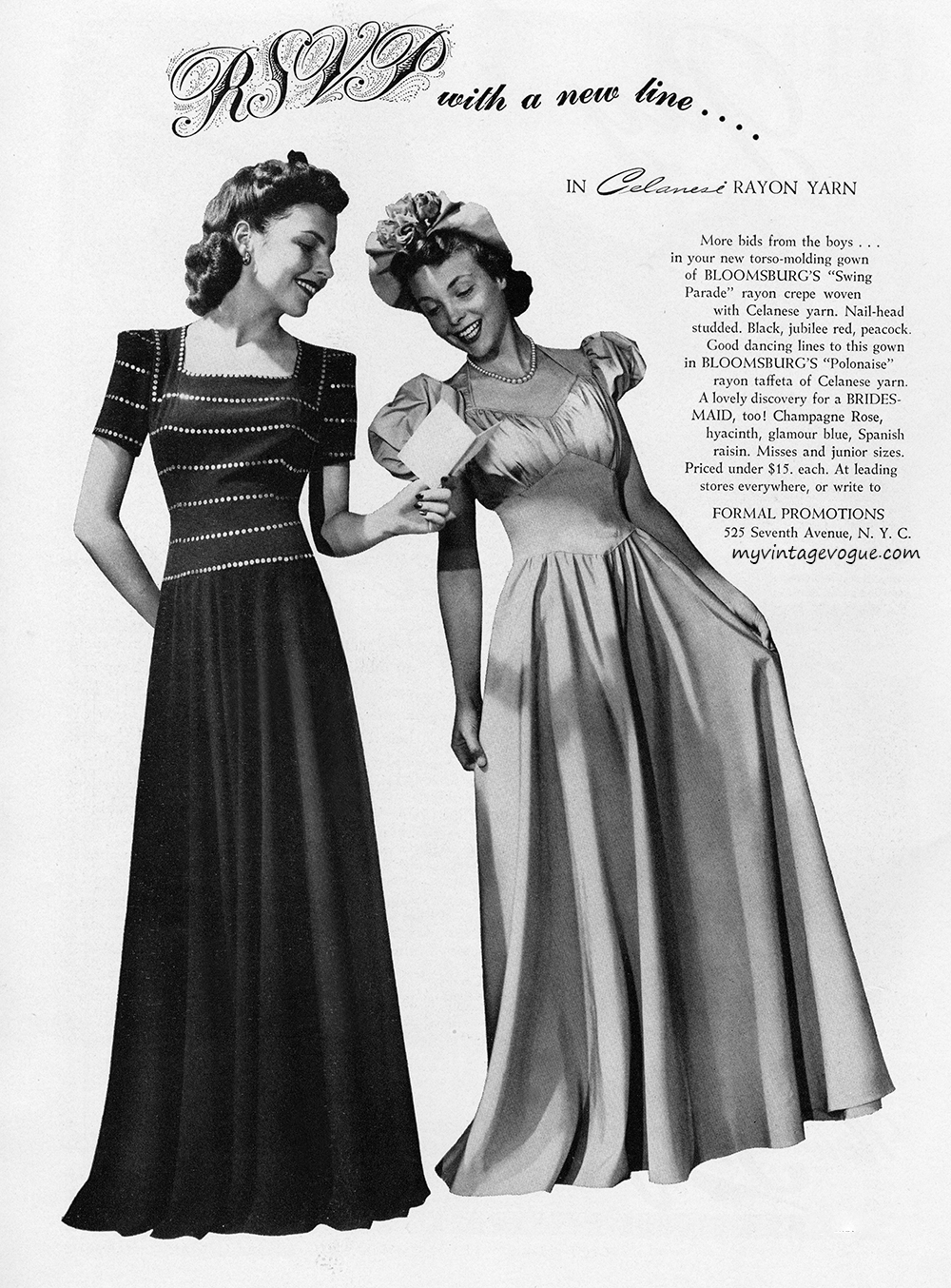 MyVintageVogue Decades  1940s  Formal Promotions 1940