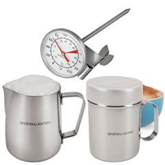 Andrew James High Quality Stainless Steel Three Piece Professional Barista Coffee Making Set