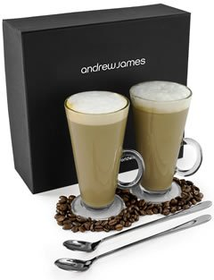 Andrew James Professional Latte Glass Set With 2 Long Handled Spoons And Elegant Presentation Gift Box