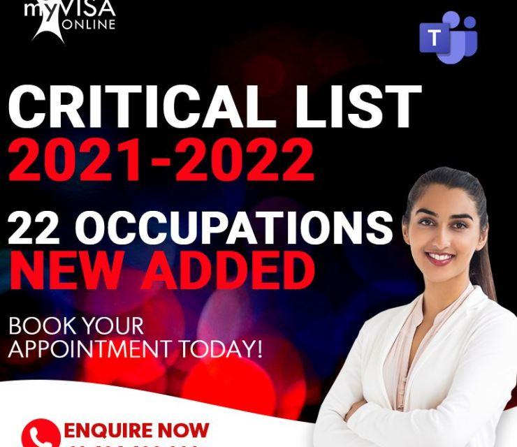 22 Newly Added Critical Occupation List 2021