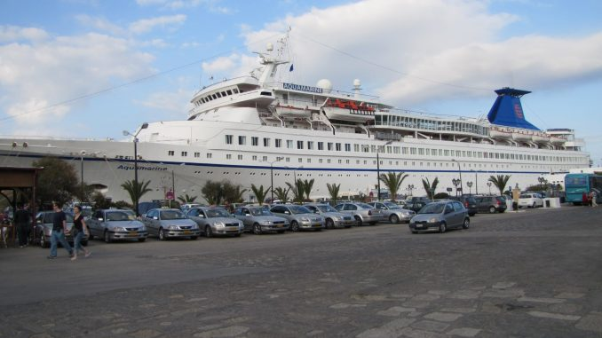 Closer view of the docked cruise ship