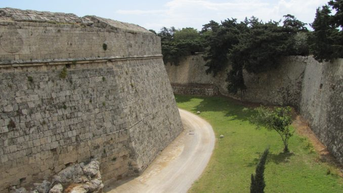The moat around the old city in Rhodes