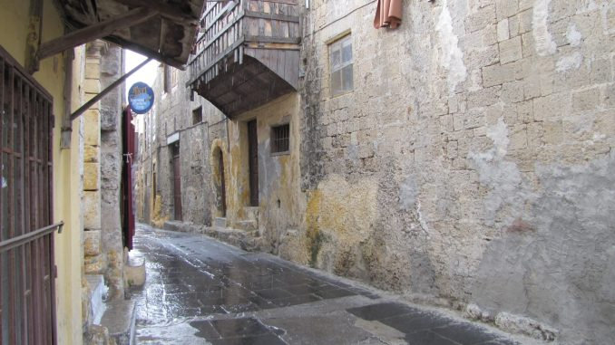 Lots of narrow streets in Rhodes