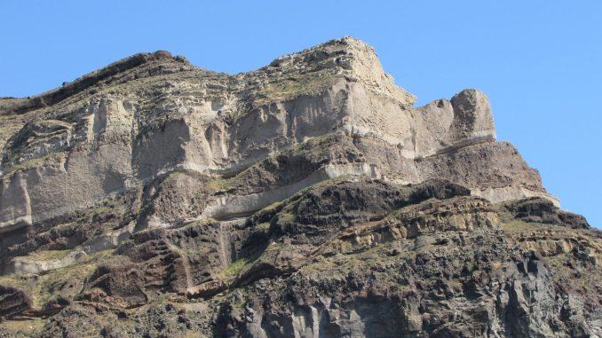 The cliffs at Santorini