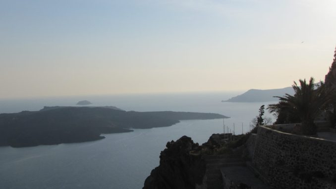 Cliff view in Santorini