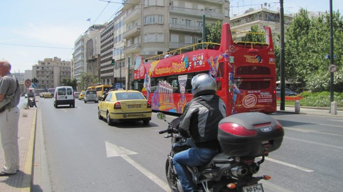 Busy street in Athens