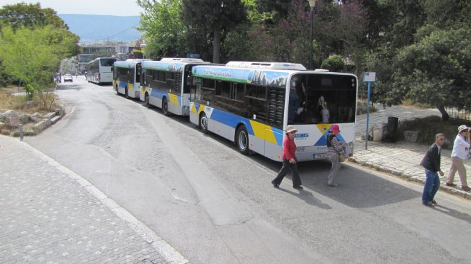 Tourist buses in Athens