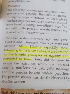 6th Standard syllabus in India, states, hindus converted to Islam because inequality