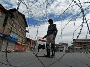 Armed forces guard in Kashmir