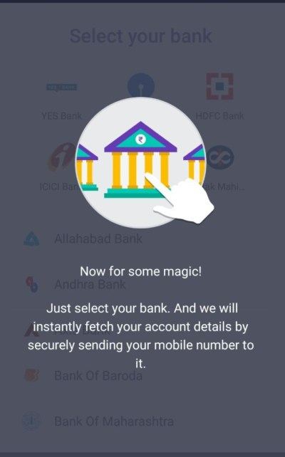 Add your bank account to the UPI app