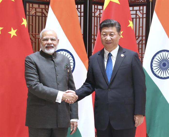 Modi and Jinping at 9th BRICS Summit, Xiamen