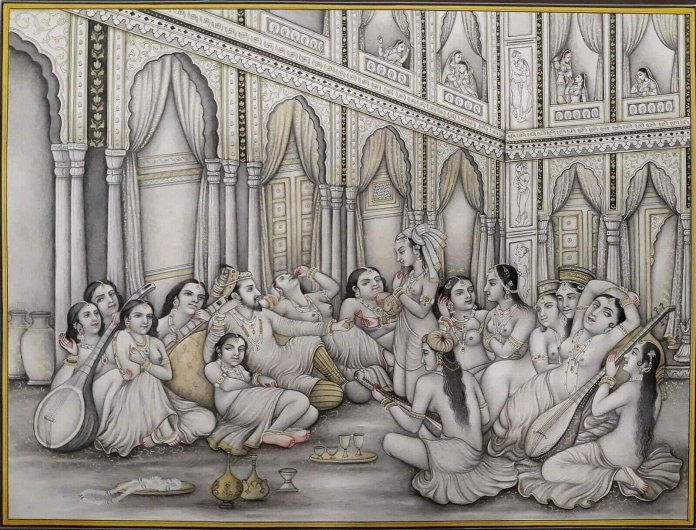 This painting depicts Shah Jahan with concubines in his harem. It was commissioned after the death of his beloved wife Mumtaz Mahal.