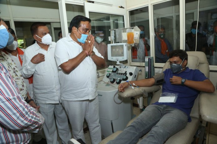Gujarat State BJP president visiting Blood Donation Camp organised by BJP