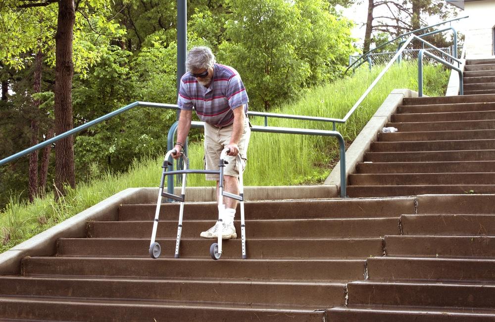 a senior with a wheeled walker