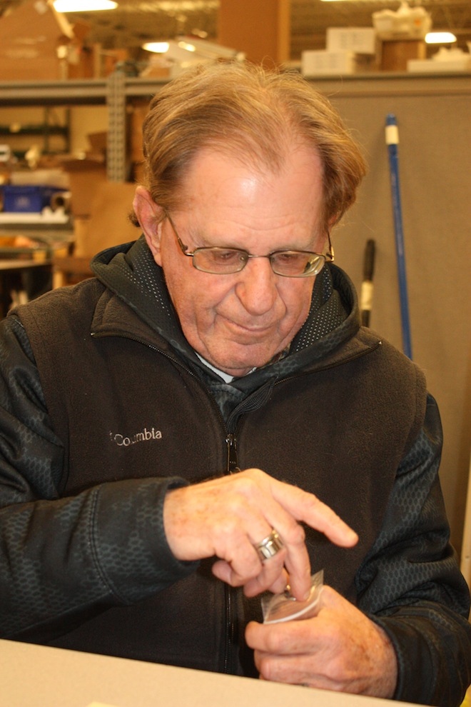 John Fleming, of Delavan, packs a Ziplock bag at VIP Services work center. Employees with disabilities complete jobs at the Elkhorn facility through contacts with local companies and manufacturers to do things like assemble small parts, label bottles and fold and insert instructions into bags. (Submitted photo)