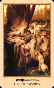 The Ten of Swords - Tarot of the Delphi representing defeat, betrayal, loss and ending.