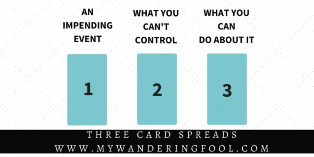 THREE CARD TAROT SPREADS AN IMPENDING EVENT    |    WHAT YOU CAN'T CONTROL    |    WHAT YOU CAN DO ABOUT IT