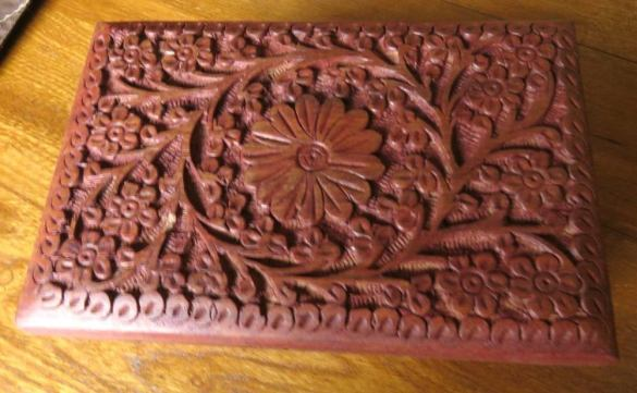 "6"" x 4"" hand carved wooden box for storage of herbs, jewelry, stash, crystals, tarot cards, trinkets"